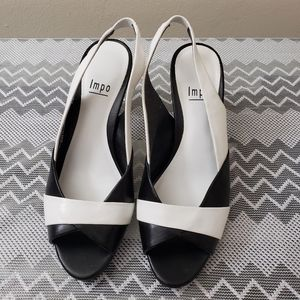 IMPO BLACK AND WHITE SLINGBACK HEELS SIZE 6.5